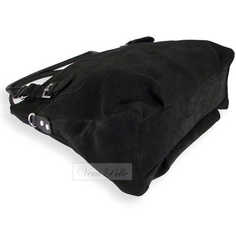 f9a09f8b86d93 Duża czarna torba zamszowa typu worek