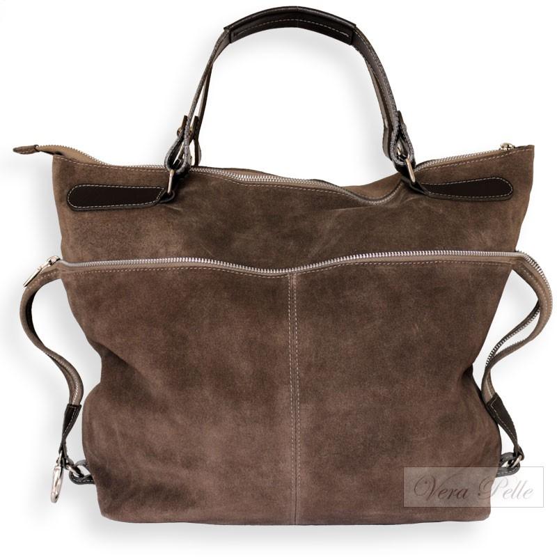123d845bc7351 Duża zamszowa torba z ozdobnym zamkiem