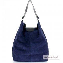 Duża zamszowa shopper bag, kolor granatowy