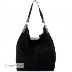 Duża zamszowa shopper bag, kolor czarny