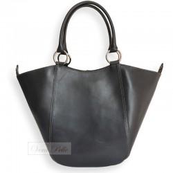 Damska skórzana torebka 2 w 1 w kolorze stalowym