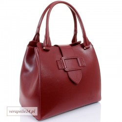 Włoska damska torebka - kuferek z naturalnej skóry, kolor bordowy