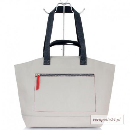 Duża torba skórzana / bagaż podręczny, kolor jasnoszary