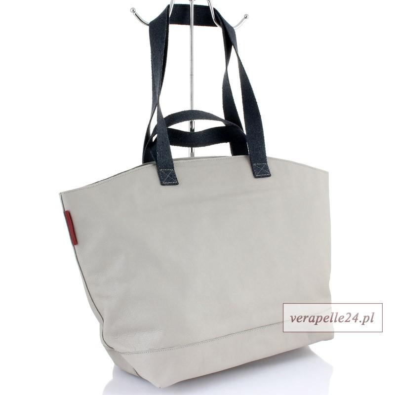 Duża torba skórzana shopper, kolor jasnoszary