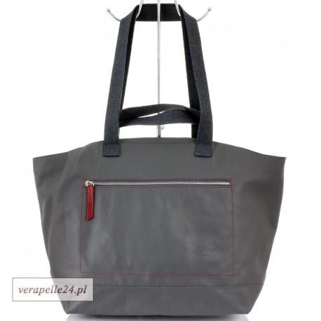 Duża torba skórzana / bagaż podręczny, kolor szary