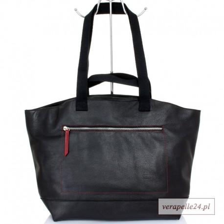 Duża torba skórzana / bagaż podręczny, kolor czarny