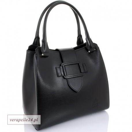 Włoska damska torebka - kuferek z naturalnej skóry, kolor czarny