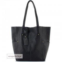 Duża torba shopper z kosmetyczką, kolor czarny