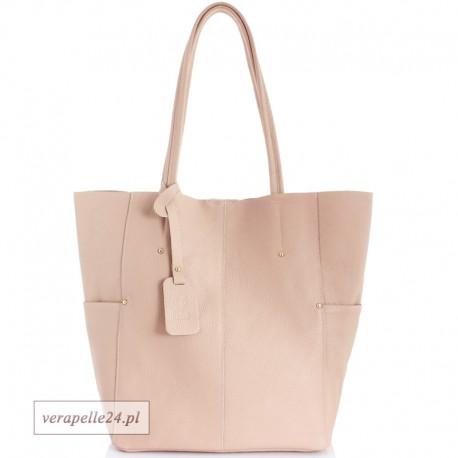 Duża torba shopper z kosmetyczką, pudrowy róż