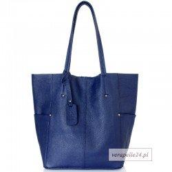 Duża torba shopper z kosmetyczką, kolor niebieski