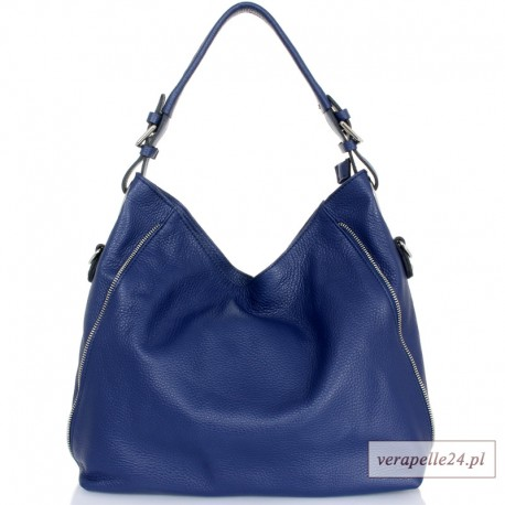 Ciemnoniebieska torebka damska z 2 wymiennymi paskami