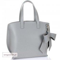 Włoska torebka z ozdobną kokardą, kolor szary