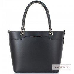Nowoczesna torebka na ramię Vera Pelle, kolor czarny