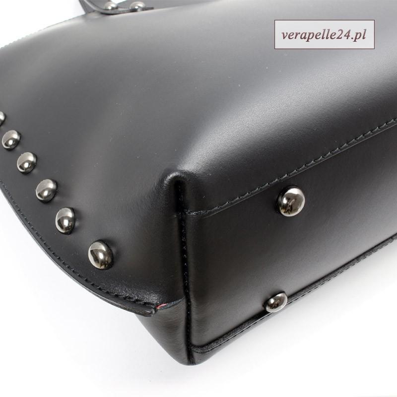 eb729becc0216 Czarny włoski shopper bag Borse in Pelle