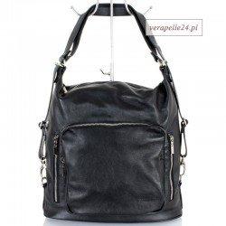 Czarna torba - plecak (2 w 1), skóra naturalna
