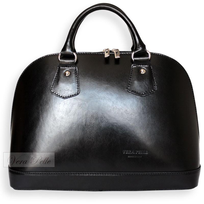 0d172001a199e Włoski czarny skórzany kuferek Vera Pelle