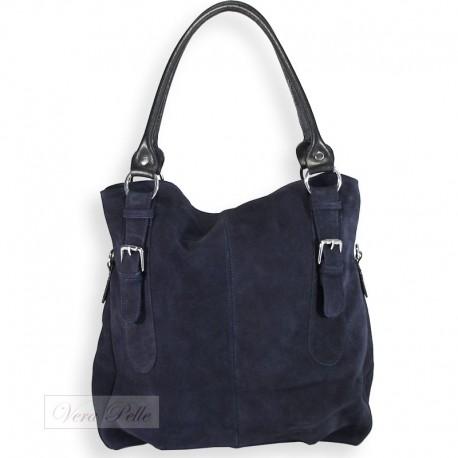 Zamszowa torba typu worek w kolorze granatowym
