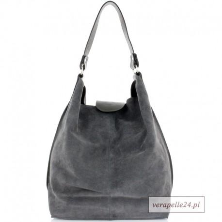 Duża zamszowa shopper bag, kolor szary
