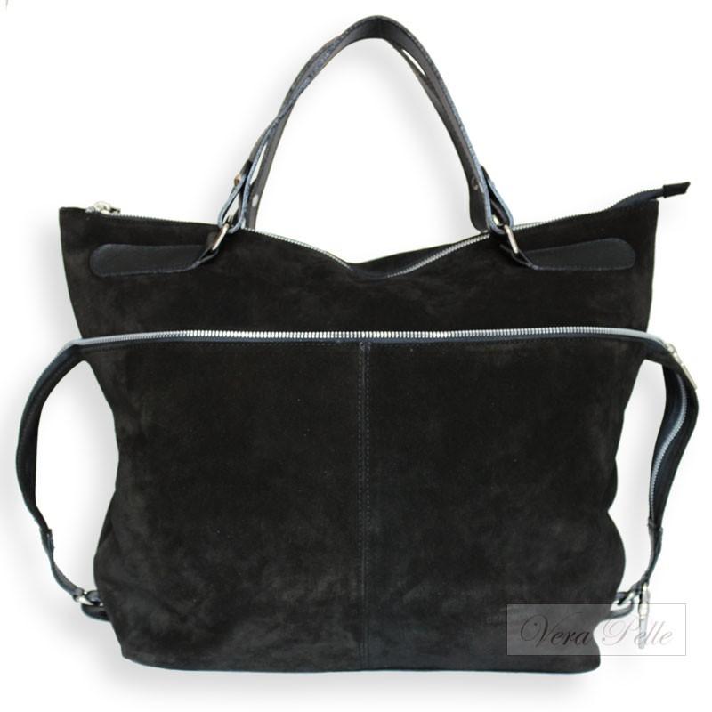 52dd03058d0dd Czarna torba typu worek z naturalnej skóry zamszowej - zamsz ...