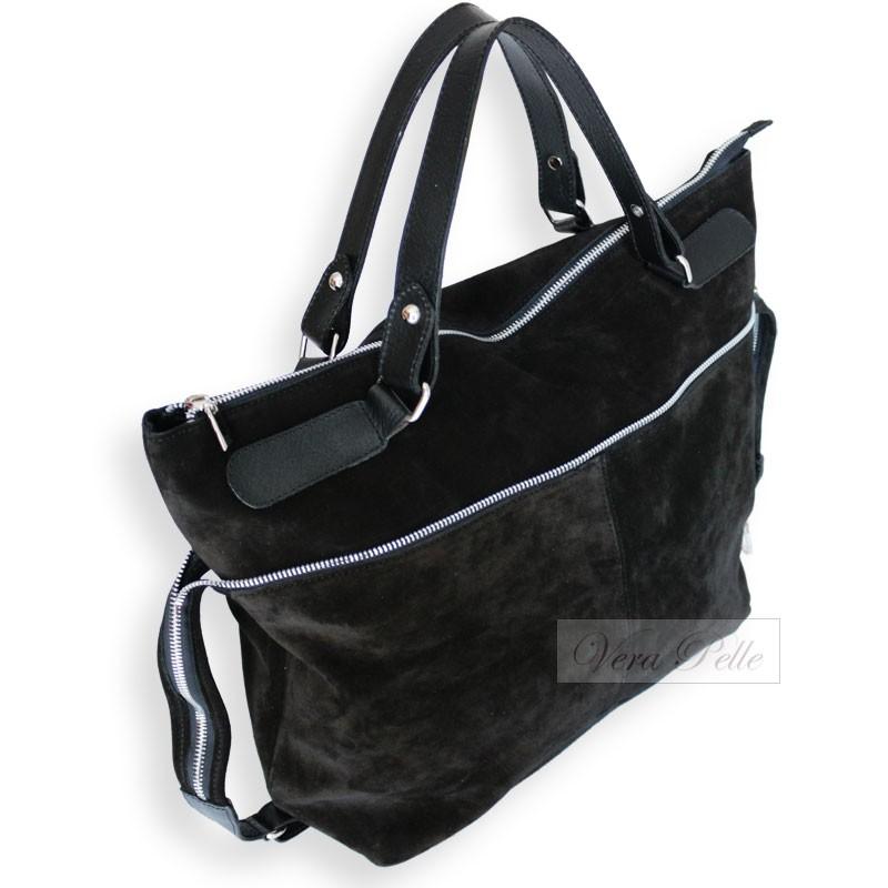 586a8771ad577 ... Czarna torba typu worek z naturalnej skóry zamszowej - zamsz ...