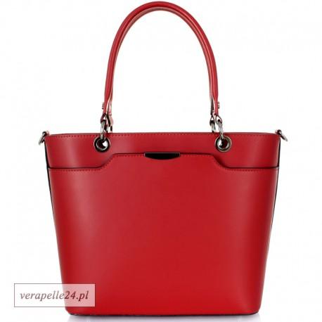 Nowoczesna torebka na ramię Vera Pelle, kolor ciemnoczerwony