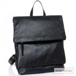 Czarny włoski plecak A4, skóra naturalna