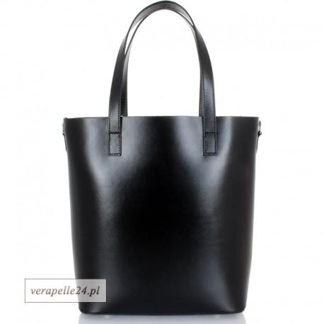 Włoska torba shopper Vera Pelle, kolor czarny