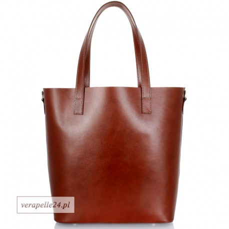 Włoska torba shopper Vera Pelle, kolor brązowy
