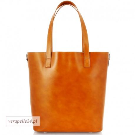 Włoska torba shopper Vera Pelle, kolor camel