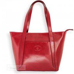 Włoska skórzana torebka Vera Pelle w odcieniach czerwieni