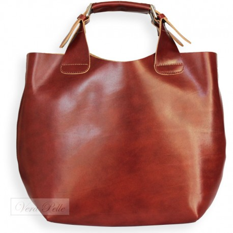 Brązowa skórzana shopper bag 2 w 1 VERA PELLE
