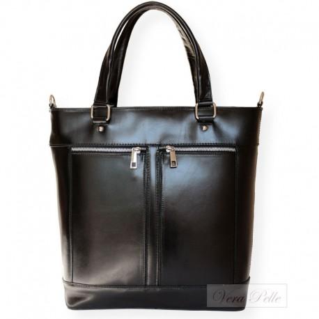 Duża włoska torebka skórzana Vera Pelle