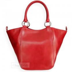 Włoska skórzana torebka 2 w 1 w kolorze czerwonym