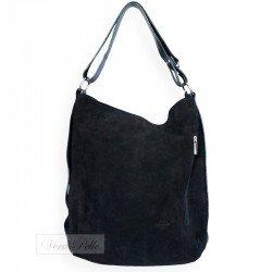 Czarna zamszowa torebka typu worek