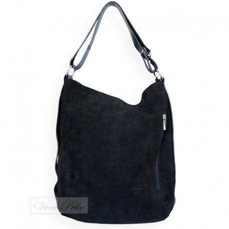6c85717b56980 Czarna zamszowa torebka typu worek